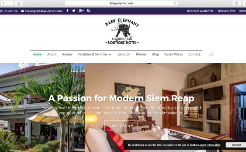 The new web site for Baby Elephant Boutique Hotel in Siem Reap, Cambodia