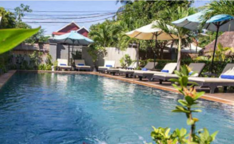 The swimming pool at Baby Elephant Boutique Hotel in Siem Reap, Cambodia