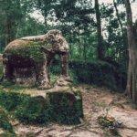 Old elephant statue in Phnom Kulen, Siem Reap, Cambodia - photo