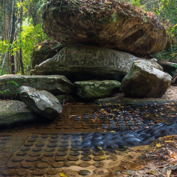 Kbal Spean stone carvings in Angkor Wat, Cambodia