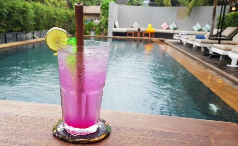 Cocktail of the month - dragon fruit gin fizz at Baby Elephant Boutique Hotel in Siem Reap, Cambodia