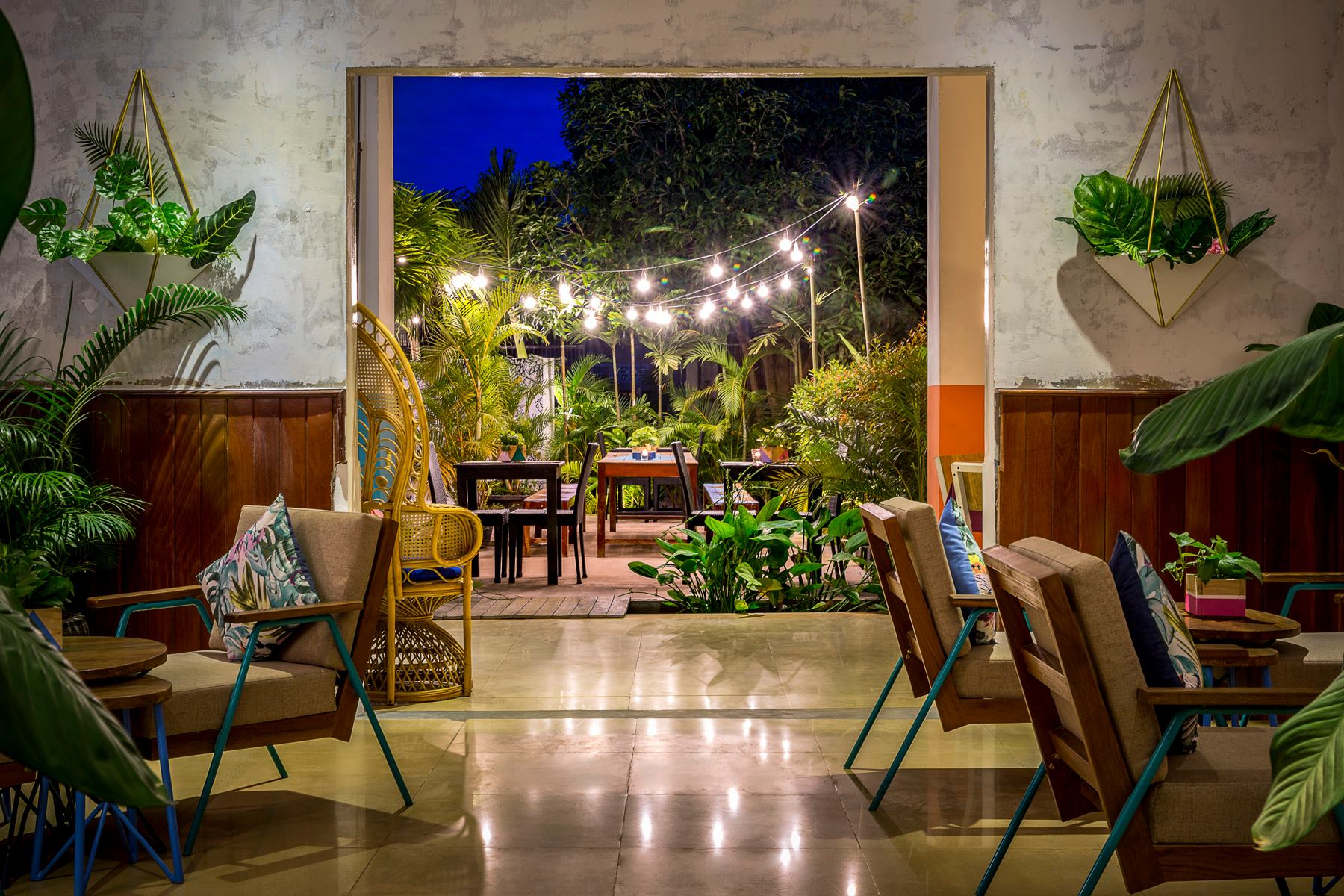 The new look lobby lounge and garden at Baby Elephant Boutique Hotel in Siem Reap, Cambodia