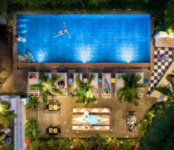 Aerial view of Baby Elephant Boutique Hotel in Siem Reap, Cambodia